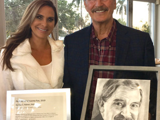 More than a Psychotherapist: Dr. Lisa Palmer Presents Portrait to Mexican President Vicente Fox