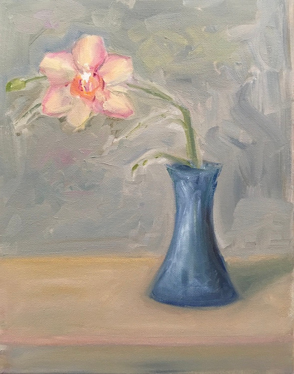 Pink Orchid in Blue Vase 2021