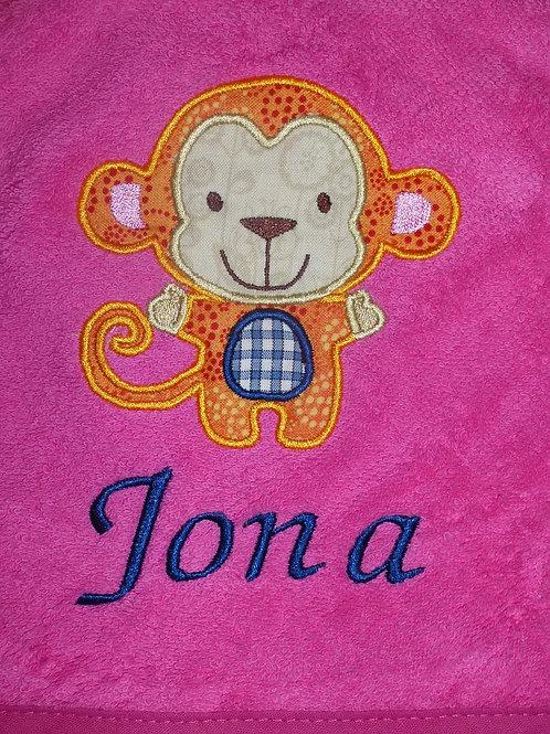 Duschhandtuch VOSSEN rosa/pink mit Motiv und Namen bestickt