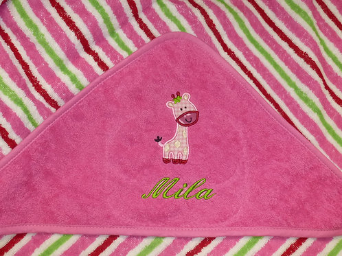 Baby Kapuzenhandtuch rosa gestreift mit Motiv und Namen bestickt Baby