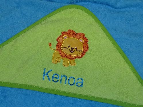 Baby BIG Kapuzenhandtuch türkis/grün mit Motiv und Namen bestickt Baby