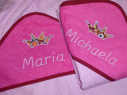 Baby BIG Kapuzenhandtuch rosa/pink mit Motiv und Namen bestickt