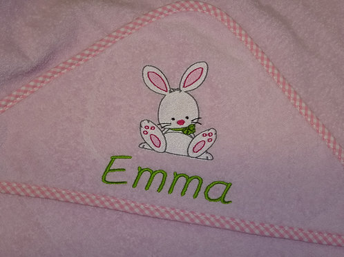 Baby Kapuzenhandtuch rosa mit Motiv und Namen bestickt Baby