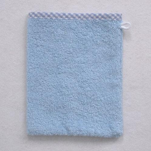 Waschlappen Waschhandschuh hellblau Vichy Rand