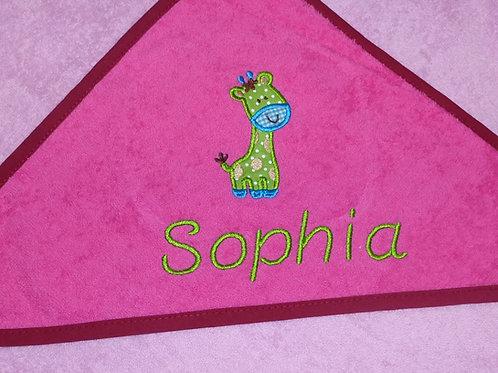 Baby Kapuzenhandtuch rosa/pink mit Motiv und Namen bestickt