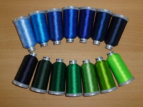 Zusatz-Set blau-grün Töne Madeira Stickgarn 14 Farben Polyneon 40 TOP QUALITÄT