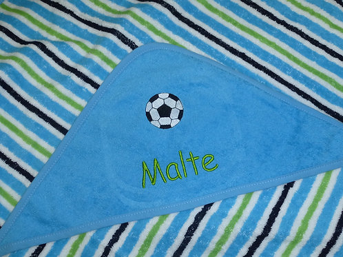 Baby Kapuzenhandtuch blau gestreift mit Motiv und Namen bestickt Baby