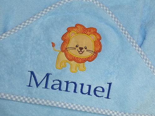 Baby Kapuzenhandtuch hellblau mit Motiv und Namen bestickt Baby