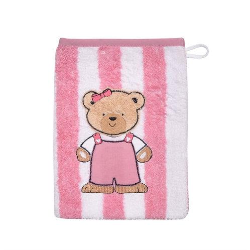Waschlappen Waschhandschuh Streifenbär rosa