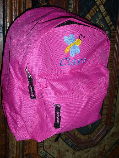Kinderrucksack pink mit Motiv und Namen bestickt