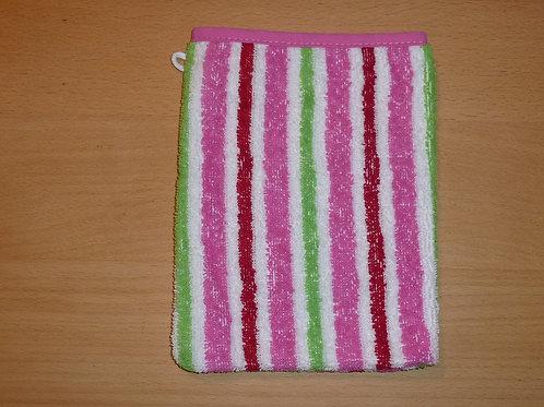 Waschlappen Waschhandschuh gestreift pink