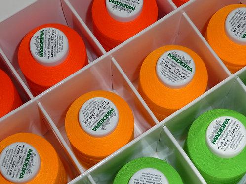 Overlockbox Neonfarben 12 Konen  Overlockgarn Madeira Aerolock 125