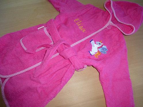 Bademantel Gr. 98/104 pink mit Motiv und Namen bestickt