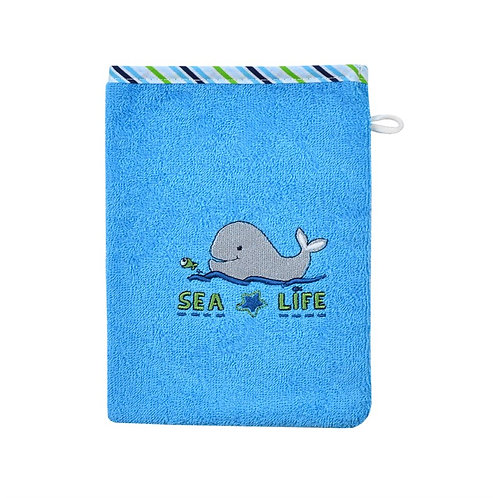 Waschlappen Waschhandschuh Wal Meer Sea