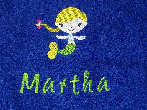 Duschhandtuch VOSSEN blau mit Motiv und Namen bestickt