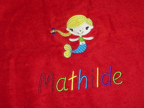 Handtuch VOSSEN rot mit Motiv und Namen bestickt