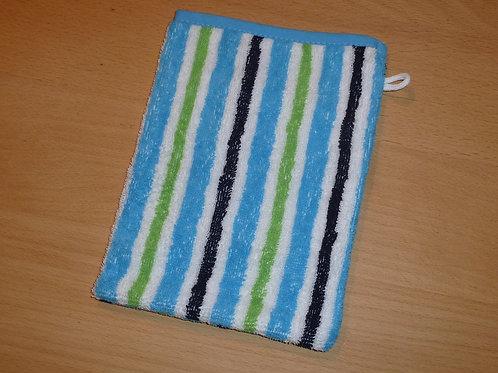 Waschlappen Waschhandschuh gestreift blau