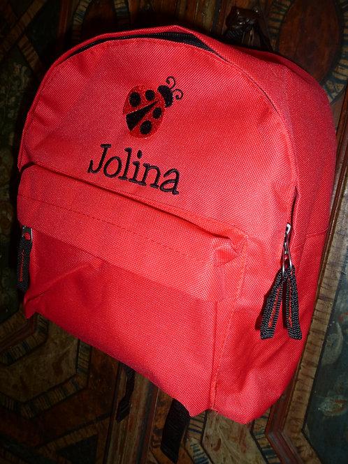 Kinderrucksack rot mit Motiv und Namen bestickt
