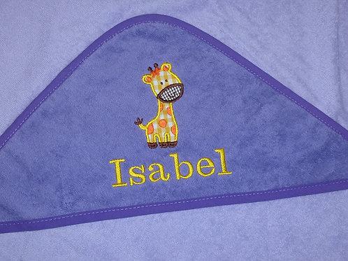 Baby Kapuzenhandtuch lila mit Motiv und Namen bestickt Baby Taufe