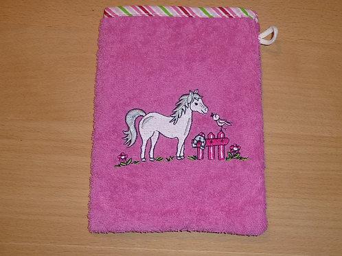 Waschlappen Waschhandschuh Pferd pink Pony