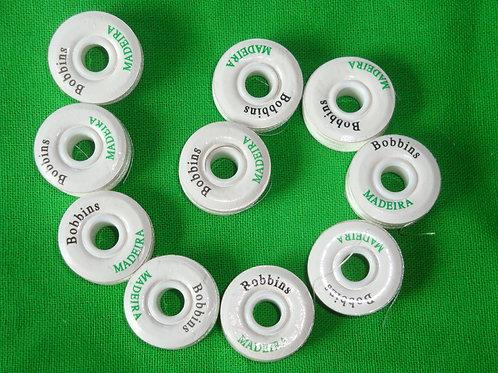 30 Stück Madeira Bobbins weiß Unterfaden für die Stickmaschine