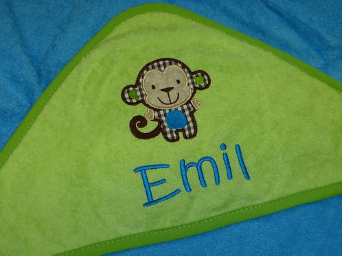 Baby Kapuzenhandtuch türkis/grün mit Motiv und Namen bestickt Baby