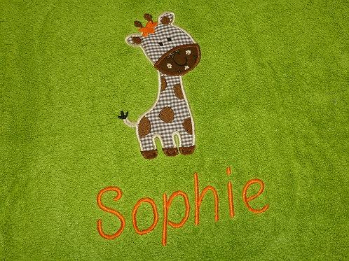 Handtuch VOSSEN grün mit Motiv und Namen bestickt