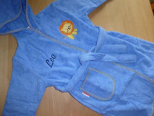 Bademantel Gr. 110/116 blau mit Motiv und Namen bestickt