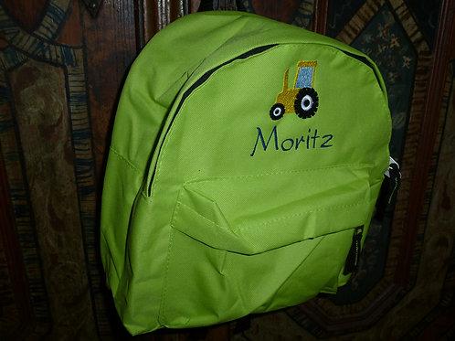 Kinderrucksack grün mit Motiv und Namen bestickt