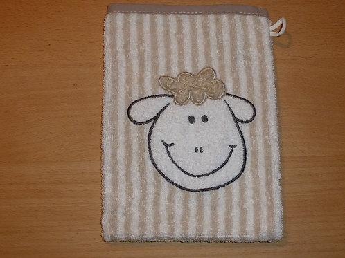 Waschlappen Waschhandschuh Schaf geringelt