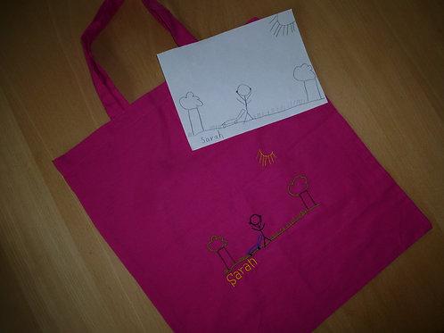 Zeichnung nach Ihren Wünschen auf Stoffbeutel pink gestickt