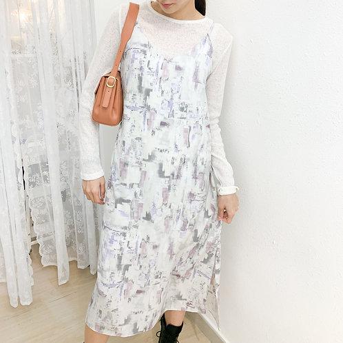 [2色] D1429 Picasso油畫感吊帶連身裙