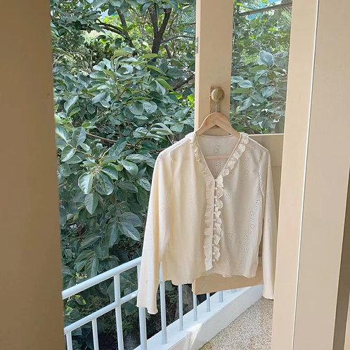 [3色] T1401 Jade小荷葉邊針織上衣