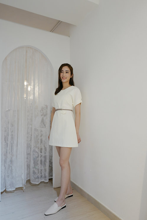 D1909 [2色] Alessi Simple Belt Dress