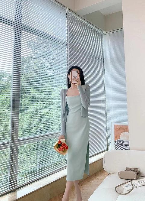 D2000 [10色] 彈性側叉吊帶連身裙