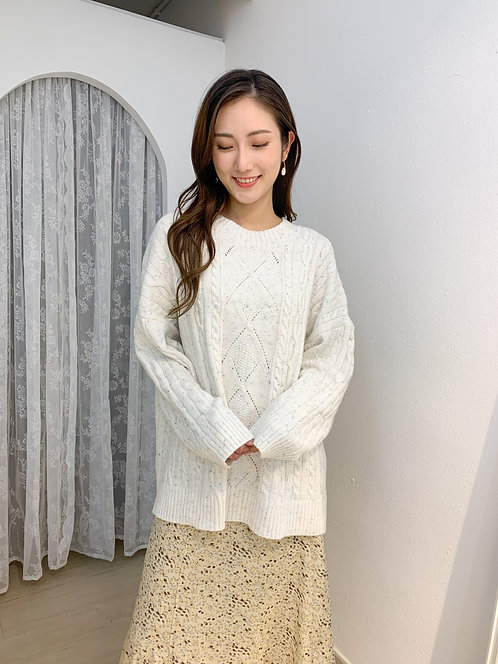 T1636 Find the Rainbow in the White Knit Top