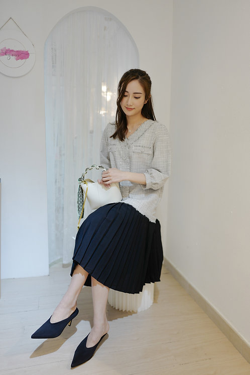 D1906 [2色] Fauci Tweed with Pleated Dress