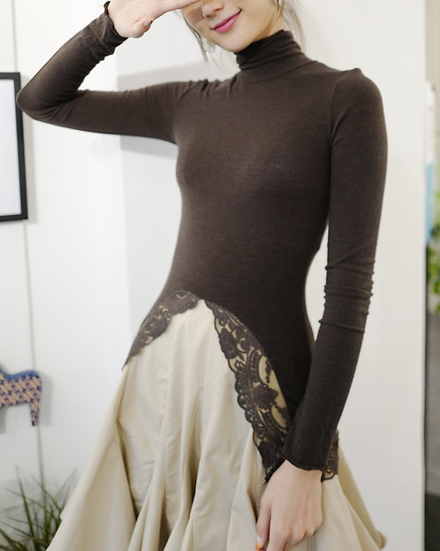 Chocolate Brown Lace V Knit Top