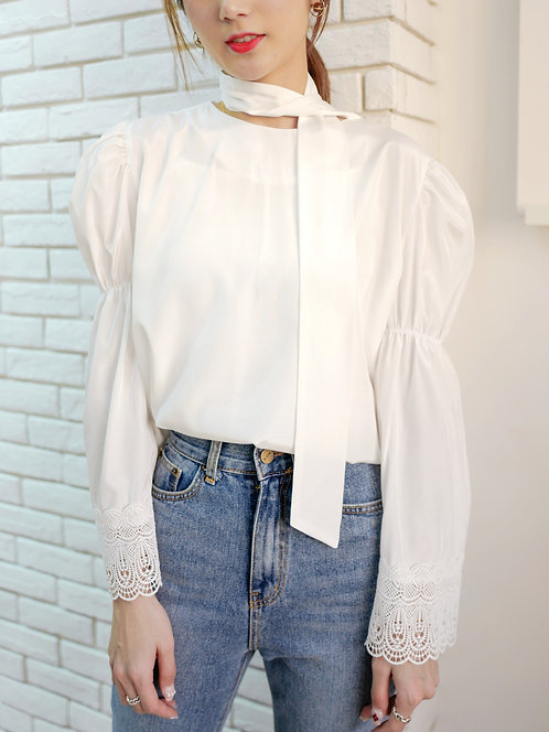 Tess 緞面高貴泡泡束袖恤衫 T816