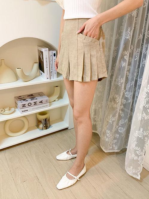 D1958 [2色] 麻質傘形短褲