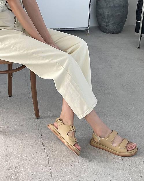 S3014 [3色] 貼貼帶厚底涼鞋