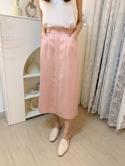 D1963 [4色]  天絲混棉 休閒風中長裙