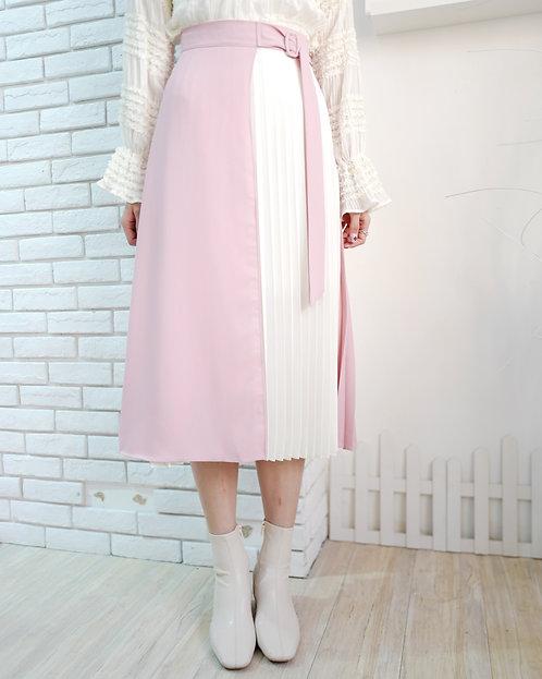 [3色] LoLi 修腰百摺拼色雪紡裙 D815