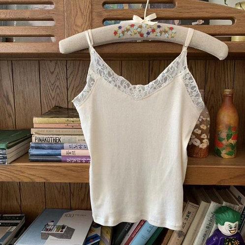[2色] T1422 蕾絲棉質吊帶上衣 (可調較肩帶)