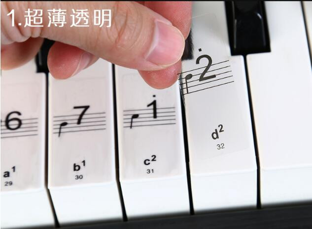 Transparent and Removable - Color Piano Stickers for 49/61/76/88 Key Keyboards