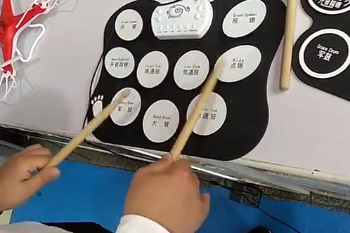 Beginner level small roll up drum kit education silicone drums