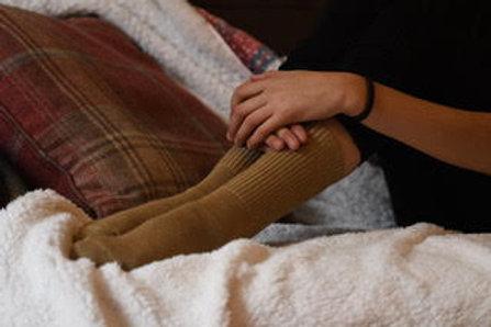 Caramel 100% alpaca fibre hand knitted socks