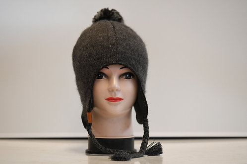 Grey 100% alpaca fibre hand knitted hat