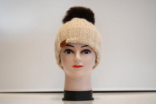 Beige 100% alpaca fibre hand knitted hat
