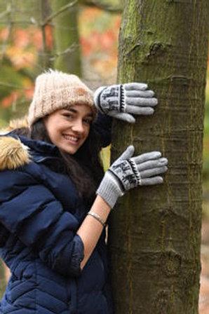 Grey 100% alpaca fibre hand knitted gloves